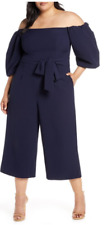 Chelsea28 - Belted Waist Stretch Crepe Off the Shoulder Jumpsuit - Navy -Size 20