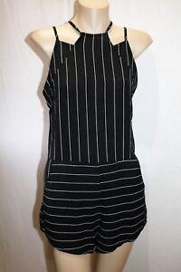 MINT VANILLA Brand Black White Pinstripe Strappy Back Playsuit Size 6 BNWT #TU51