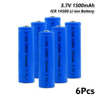 6x Rechargeable ICR 14500 Li-ion Battery 3.7V 1500mAh For Flashlight Headlamp F