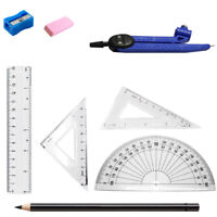 8Pc Colour Stationery School Stationary & Carry Set Maths In Clear Plastic case