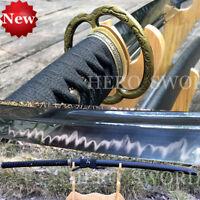 "HERO SWORD Japanese Samurai sword Clay Tempered T1095 Steel Katana 47"" Length"
