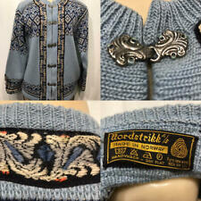 Vtg NORDSTRIKK Norway Cardigan Wool Sweater Silver Button Navy Light Blue 42 M L