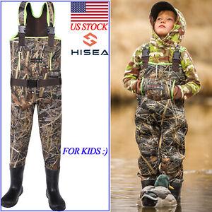 HISEA Kids Neoprene Waders Toddler Children Chest Rubber Bootfoot Hunting Waders