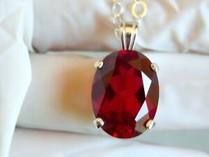 22ct RED RUBY 925 STERLING SILVER PENDANT ITALY ROLO CHAIN USA MADE