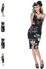 50s rockabilly Collectif Vintage Cinthia black blossom print pencil dress, sz 14