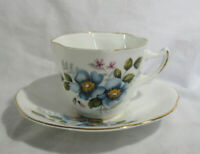 Royal Dover Fine English Bone China Teacup Tea Cup Saucer Blue and Pink Flowers