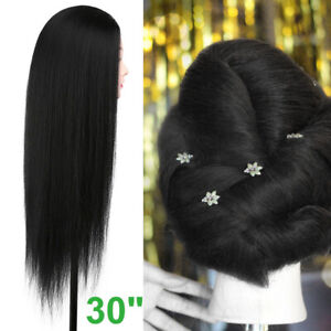 30''  Real Hair Hairdressing Practice Training Head Mannequin Doll + Clamp