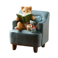"Cat Reading Book to Mouse Sculpture Home Decor Figurine - 3 1/2"" Hand Painted"