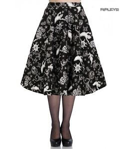 Hell Bunny Pin Up 50s Skirt Halloween Ghosts Witch SPOOKY Gothic Black All Sizes