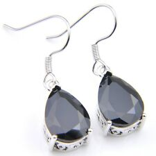Mother's Day Mystic Teardrop Black Onyx Platinum Plated Gems Dangle Earrings