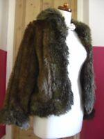 M&S PER UNA SPEZIALE faux fur JACKET COAT size Medium UK 12 10 1970s retro furry
