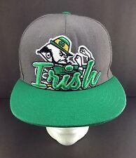 6e9d1f8b6def2 Notre Dame NCAA Fighting Irish Hat Cap Snapback Big Script Green Gray EUC