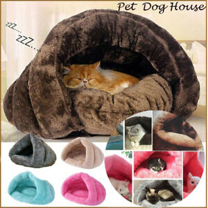 Plush Cave Winter Warm Mat Cat Sleeping Bag Dog House Kennel Pet Bed