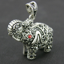 5 x Rhinestone Elephant Ruby Charms Antique Silver Alloy Pendants CH26