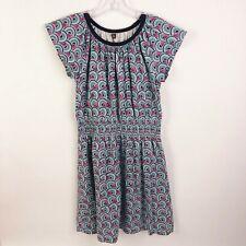 Tea Collection Girls Size 6 Floral Blue Pink Short Sleeve Elastic Waist Dress
