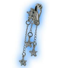 Fake Belly Button Ring Non Piercing Navel Clip Clear Shooting Stars Clipon