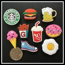 9 Shoe Charms for Croc FOOD SNEAKERS COFFEE Beer Cola Ice Cream Burger Fries Egg