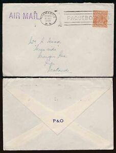 AUSTRALIA MARITIME 1938 FREEMANTLE PAQUEBOT MACHINE + 5d HEAD...P + O ENVELOPE