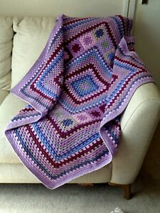 Handmade OOAK Crochet Blanket Throw Afghan Camper Granny Square Highland Walk