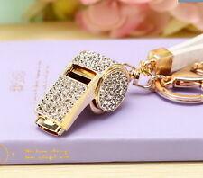 New Fashion Keyring bag chain Rhinestone whistle Charm Pendant Keyfob Keychain