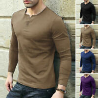 Mens Long Sleeve V Neck Henley T Shirts Casual Slim Fit Muscle Blouse Top Tee US