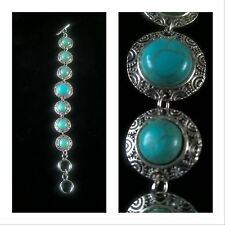Bracelet aqua blue and silver tone ethnic style (earrings & necklace available)