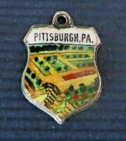 PITTSBURGH ~ Pennsylvania ~ Vintage Sterling Silver Enamel Travel Shield Charm