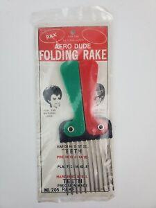 Vintage NOS Afro Dude Folding Afro Pick Rake Red Green & Black new sealed