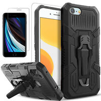 For iPhone SE 2020 7 8 Plus Case, Kickstand Belt Clip + Tempered Glass Protector