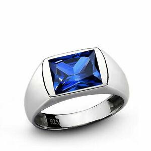 Men's Ring with Blue Sapphire Gemstone in 925 Sterling Silver