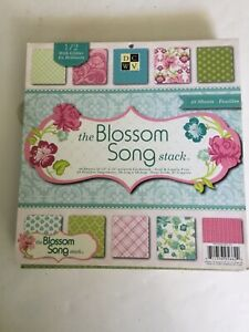 DCWV THE BLOSSOM SONG Stack 48 Glamorous Prints 12x12 One Half With Glitter