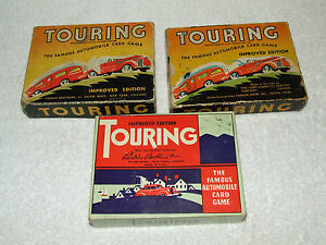 "Antique Lot of 3 Parker Brothers ""TOURING"" Automobile Car Auto Card Game 1926"