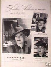 "1944 WWII Stetson Women's Montezuma Hats""Betty Hutton""Morgan's Creek Fashion AD"