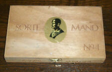 SORTE MAND No4 OSLO NORWAY TOBACCO CIGAR WOOD BOX PURSE CRAFT GIFT BLACK MAN VTG