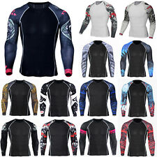 Mens Base Layer Long Sleeve Tops Compression T-Shirt Sports Workout Gym Blouse
