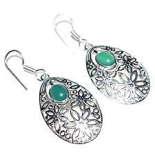 925 Sterling Silver Plated Green Onyx Gemstone Girls Womens Earrings Jewellery