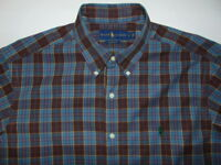 Ralph Lauren Classic Fit Blue Plaid Long Sleeve Button Down Shirt Mens Size L