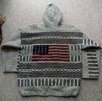American Flag Patriotic Wool Hooded Pullover Sweatshirt Heavy USA Hoodie XL