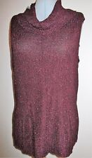 SPARKLY SLEEVELESS DARK RED RIBBED JUMPER / TOP BY J TAYLOR AT DEBENHAMS SIZE 20