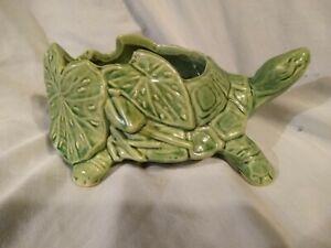 """Vintage McCoy Planter Green Smiling Turtle 8"""" Long CA: 1950"""