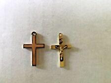 "Vintage 14K Yellow Gold Cross Crucifix Pendant 1 1/4"""