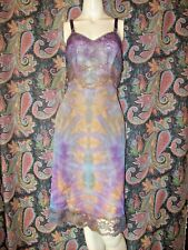 Vintage Seamprufe Multi Color Tie Dye Nylon Tricot Slip Nighty Lingerie 38