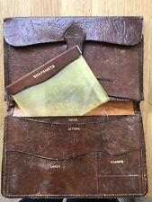 Antique vintage brown Oak Calfskin Travel Portfolio Filofax Wallet Purse Camera