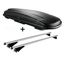 Skibox schwarz VDP JUXT 400 lit + Relingträger Alu Seat Leon ST ab 2012