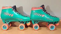 Roller Derby Torsion Beam Old School Hipster Green/Orange Roller Skates SIZE 9