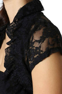 Zenena Lace Shrug  Bolero Cropped Layering Dress Jacket Colors & Sizes