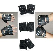 10322b635 Soft Faux Leather Fingerless Gloves BIKER PUNK HIP HOP UNISEX Gloves Size M  Men
