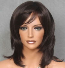 Brown Wig mesh top Straight Layered Hairpiece w. bangs WAKE 6