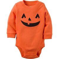 NEW Carter's Girls Boys Halloween Orange Pumpkin Bodysuit Top NWT 3m 12m