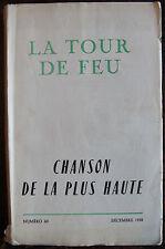 LA TOUR DE FEU, chanson de la plus haute, , n°60, 1958